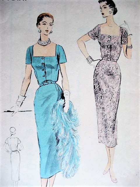 1950s CHIC Cocktail Party Evening Dress Pattern VOGUE 7951 Easy To Make Low Square Neckline Sheath Dress Bust 32 Vintage Sewing Pattern