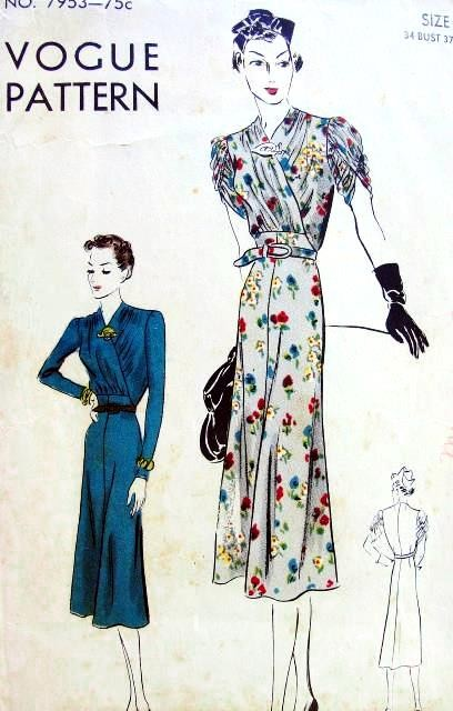 1930s FROCK DRESS PATTERN BEAUTIFUL SURPLICE BODICE, GATHERED DRAPED SHORT or LONG FITTED SLEEVES VOGUE PATTERNS 7953
