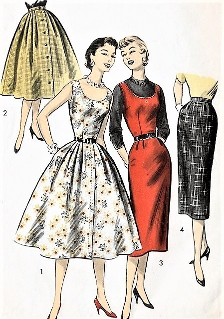 1950s ROCKABILLY Slim or Full Skirts and Jumper Dress Pattern ADAVANCE 8029 Four Fab Styles Bust 34 Vintage Sewing Pattern