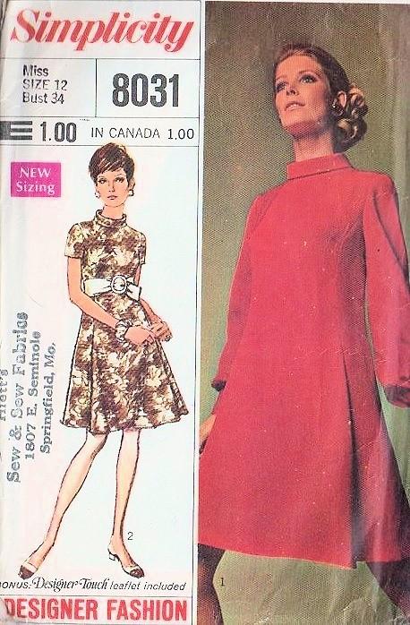 Mod 60s Simplicity 8031 Vintage Sewing Pattern Lovely Designer ...