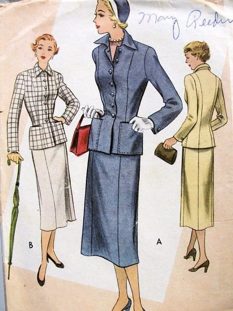 1950s STYLISH 2 PC SUIT PATTERN FITTED JACKET SLIM SKIRT McCALL 8079