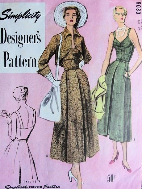 1940s Beautiful Sun or Cocktail Evening Dress and Jacket Pattern SIMPLICITY DESIGNERS 8080 Stunning Bolero Low Back Dress Bust 30 Vintage Sewing Pattern FACTORY FOLDED