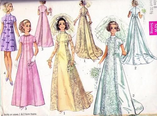 60s Wedding Dress Bridal Gown Pattern Simplicity 8091 Beautiful ...