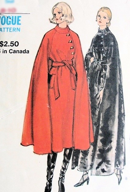 1970s ELEGANT Flared Cape Coat Pattern VOGUE 8145 Beautiful Style, Day or Evening Lengths Bust 34-36 Vintage Sewing Pattern