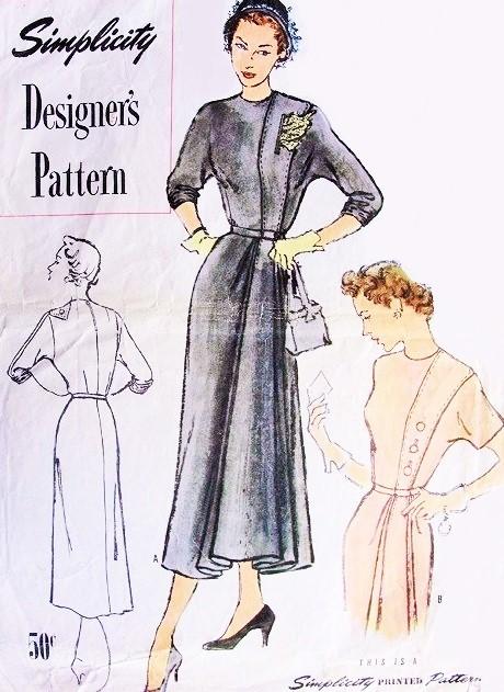1940s STRIKING Side Draped Dress Pattern SIMPLICITY DESIGNER 8176 ...