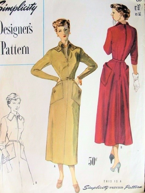 1940s FABULOUS Tailored Dress Pattern SIMPLICITY Designers 8178 Graceful Flared Back Large Pockets Bust 34 Vintage Sewing Pattern FACTORY FOLDED