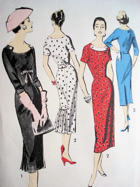 LOVELY 1950s Sheath Day or Cocktail Evening Party Dress Pattern ADVANCE 8179 Three Beautiful Versions, Interesting Necklines,Bust 34 Vintage Sewing Pattern