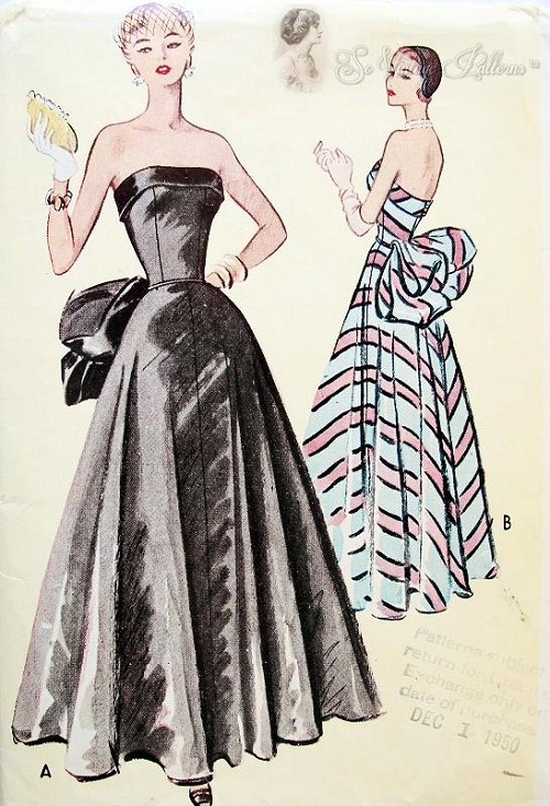 1950s Formal Evening Ball Gown Pattern McCall 8288 Striking ...