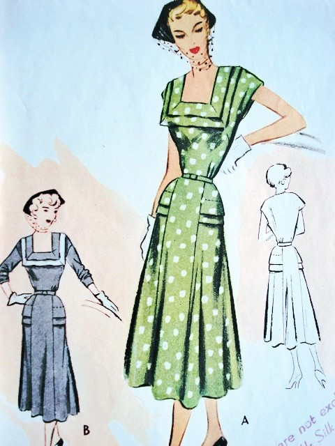 1950s McCALL Pattern 8374 LOVELY Deep Square Neckline Seam Interest Figure Flattering Design Bust 36 Vintage Sewing Pattern