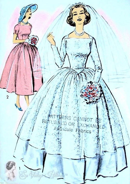 1950s Beautiful Brides Overdress and Slip Dress Pattern Low V Back Stunning 2 Dress Patterns In One Advance 8401 UNCUT Bust 36
