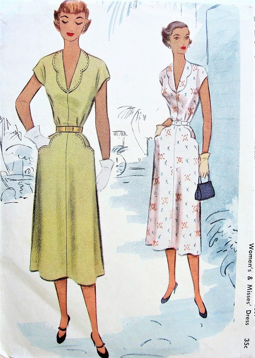 1950s PRETTY Dress Pattern McCALL  8423 Deep V Neckline Scalloped Pockets Bust 32 Vintage Sewing Pattern