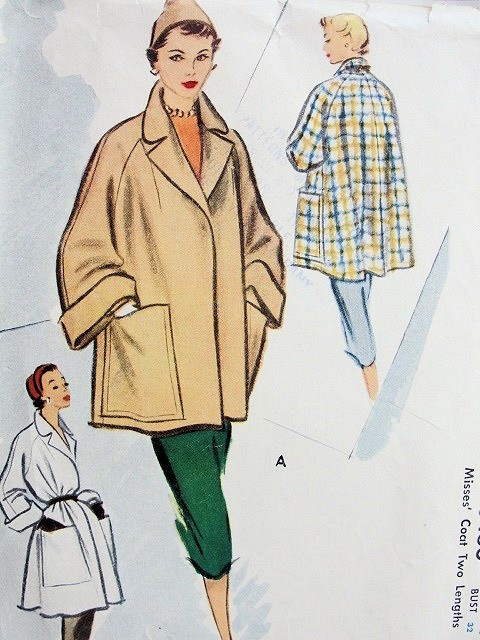 1950s Fab Flare Back Coats Jackets Pattern McCall 8430 Chic Wide ...