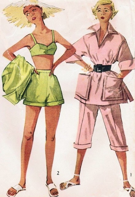 !950s FAB Beachwear Pattern SIMPLICITY 8480 High Waist Shorts,Pedal Pushers Capri Pants, Beach Cover Up Shirt, Bra Top Bust  30 Vintage Sewing Pattern FACTORY FOLDED