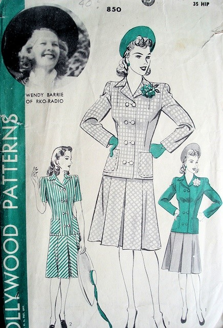 1940s WAR TIME SUIT PATTERN HOLLYWOOD PATTERN WENDY BARRIE