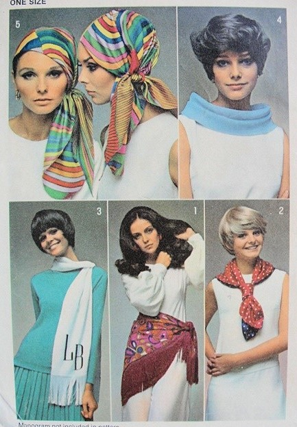 1960s Mod Hat and Set of Scarfs Pattern SIMPLICITY 8562 Very GUCCI Style Vintage Sewing Pattern FACTORY FOLDED