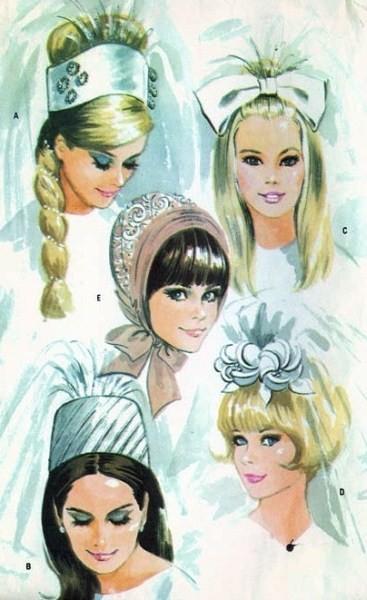 1960s Mod BRIDAL CAPS, VEILS Wedding Head Pieces Pattern Five Styles ...