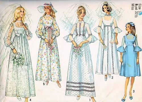 ROMANTIC 1970s WeddingGown Bridal Dress Pattern SIMPLICITY 9218 Five ...