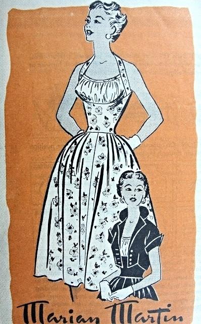 1950s Pin Up Style Midriff Dress and Jacket Pattern Marian Martin ...