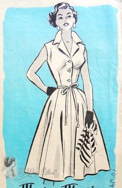 1950s Rockabilly Fitted Bodice Full Skirt Dress Pattern Marian