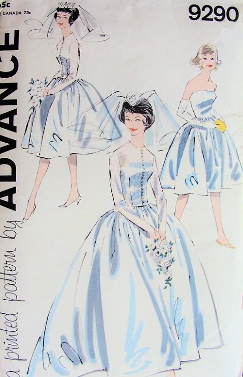 1960s Lovely Audrey Style Wedding Bridal Dress Pattern Advance 9290