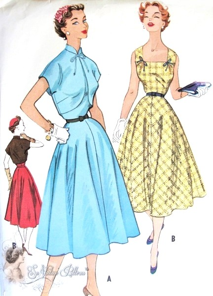 1950s Charming Dress and Bolero Jacket Pattern Full Skirted, Flattering Square Neckline, Cutaway Front Bolero McCalls 9328 Vintage Sewing Pattern Bust 32