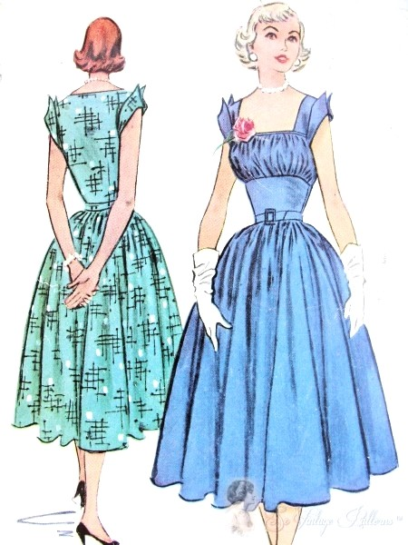 1950s BEAUTIFUL Midriff Dress Pattern McCalls 9379 Gathered Bodice Square Neckline Perky Wing Sleeves Day or Evening Bust 32 Vintage Sewing Pattern
