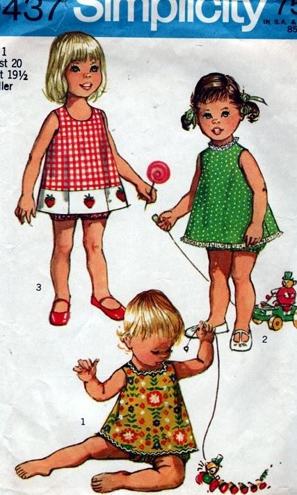 Vintage Toddlers Girls Cute Top 3 Necklines and Bloomers Pattern ...