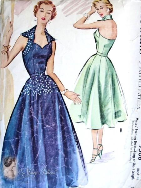 50s Evening Dress Gown Pattern McCalls 9508 Bombshell Sweetheart ...