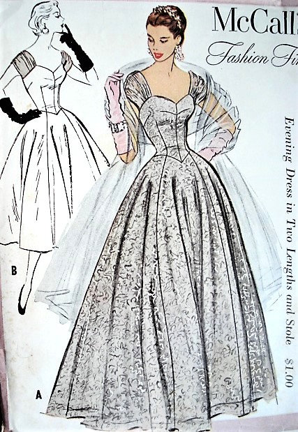 2b281d0a10 1950s DREAMY Evening Gala Event Gown or Cocktail Party Dress Pattern  McCALLS 9577 Stunning Design Evening ...