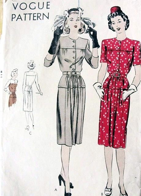 1940s DRESS PATTERN  EASY TO MAKE VOGUE 9612