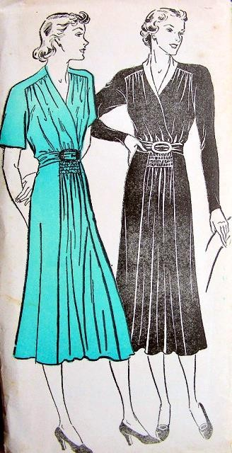 1930s BEAUTIFUL Day or Cocktail Party Dress Pattern NEW YORK 963 Lovely Draped Surplice Bodice, Shirred in Front Bust 38 Vintage Sewing Pattern FACTORY FOLDED