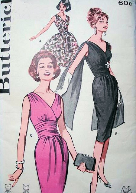 1960s GLAMOROUS Cocktail Evening Party Dress Pattern BUTTERICK 9690 Slim or Full Skirt DREAMY Shoulder Drape Version Bust 34 Vintage Sewing Pattern FACTORY FOLDED