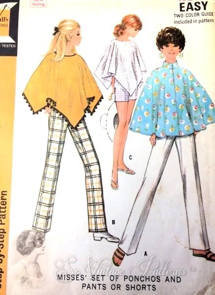 1960s Mod Ponchos Cape Slim Pants and Shorts Pattern McCalls 9782 ...