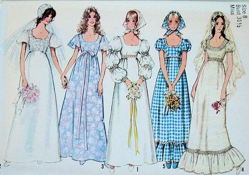 1970s Romantic Boho Wedding Gown Bridal Dress Pattern Simplicity ...