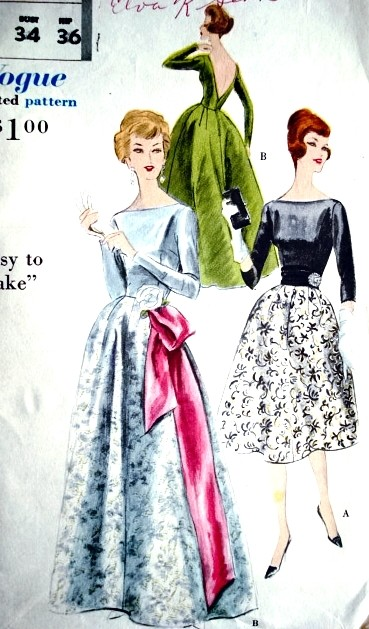 50s GORGEOUS Evening Dress Gown Pattern VOGUE 9827 Bateau Neckline, Plunging V Back, Formal Length or Short Cocktail Party Bust 34 Vintage Sewing Pattern FACTORY FOLDED