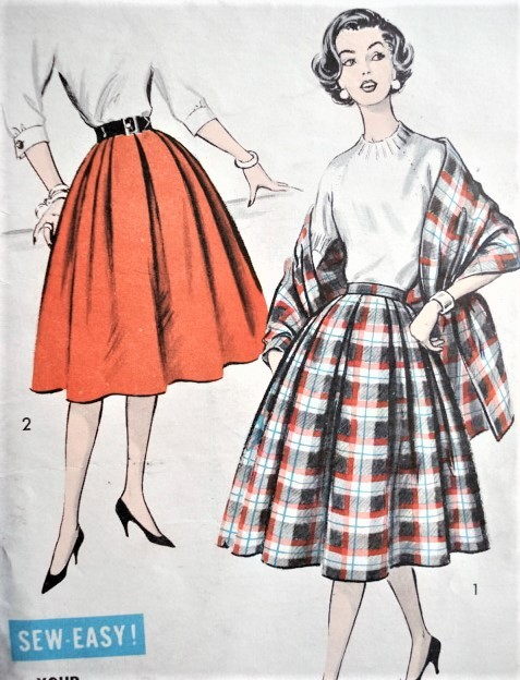 1950s EASY To Sew Pleated Skirt and Stole Pattern ADVANCE 8781 All Around Unpressed Pleats Full Skirt Waist 24 Vintage Sewing Pattern FACTORY FOLDED