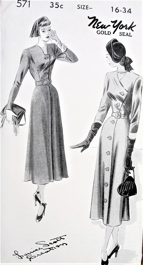 1940s ELEGANT Dress Pattern NEW YORK Louise Scott Creation Two Beautiful Designs Day or Dinner Dresses Bust 34 Vintage Sewing Pattern FACTORY FOLDED