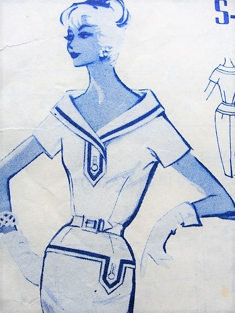 Late 50s BOMBSHELL Slim Middy Dress Pattern MODES ROYALE 189 Flattering Wide Shawl Collar Bust 34 Vintage Sewing Pattern