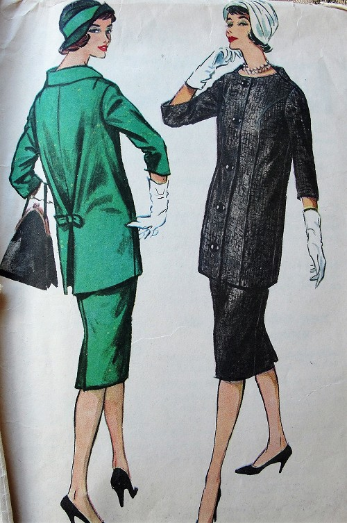 1950s CHIC Walking Suit Pattern McCALLS 4664 Stylish Longer Jacket and Slim Skirt Suit, Daytime or After 5 Bust 34 Vintage Sewing Pattern