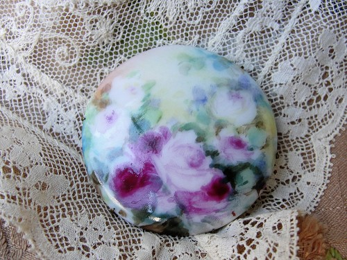 Antique Large Handpainted Brooch PINK Roses Flowers Victorian Edwardian Pin Perfect Romantic Gift