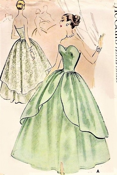 1950s GLAMOROUS Strapless Evening Dress,Ball Gown or Bridal Gown McCalls 8733 Beautiful Sweetheart Strapless Dress with Cascading Overskirt Bust 32 Vintage Sewing Pattern