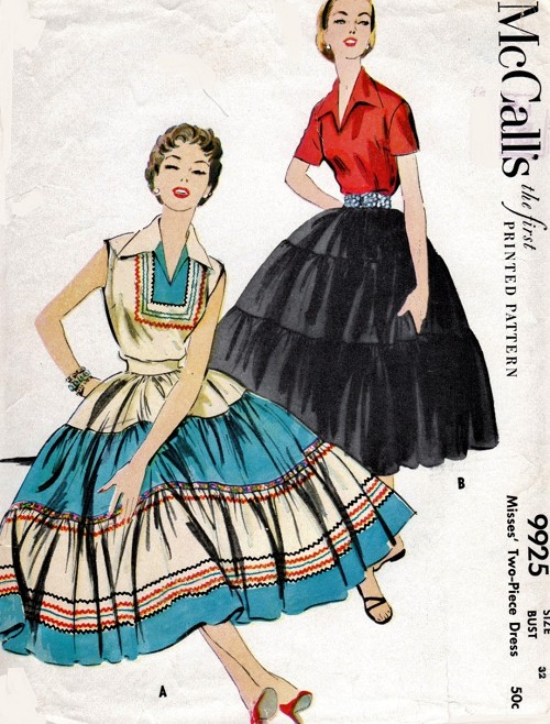 1950s PRETTY 2 Pc Dress Pattern McCALLS 9925 Wing Collar Blouse and Tiered Full Skirt,South Western Style,Bust 32 Vintage Sewing Pattern