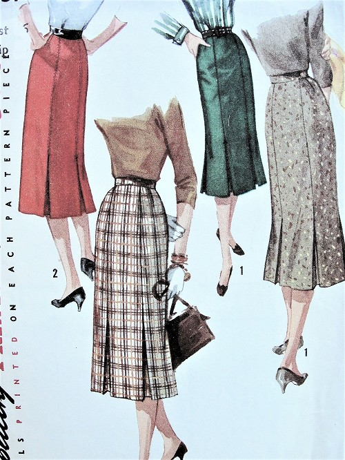 1950s CLASSY Set of Skirts Pattern SIMPLICITY 1731 Two Fab Slim Skirts Styles Waist 30 Vintage Sewing Pattern