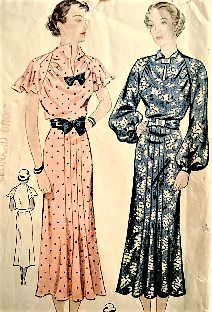 1930s BEAUTIFUL Day or Party Dress Pattern SIMPLICITY 2016 Lovely Long or Flirty Flutter Sleeves, Keyhole Neckline, Bust 38 Vintage Sewing Pattern