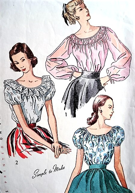1940s BEAUTIFUL Peasant Style Blouse Pattern SIMPLICITY 2484 Three Simple To Make Blouses Bust 32 Vintage Sewing Pattern