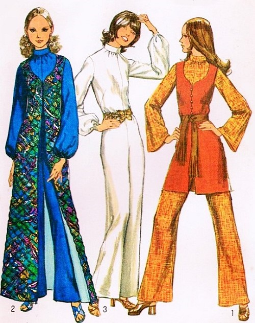 1970s JUMPSUIT and Tunic Vest Pattern SIMPLICITY 9720 Mini or Maxi ...