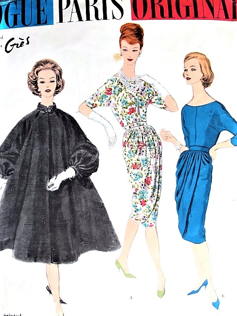 1950s GLAMOROUS Madame Grès Cocktail Dress and Coat Pattern VOGUE Paris Original 1451 Slim Draped Front Party Dress Very Full Swing Back Coat Bust 32 Vintage Sewing Pattern