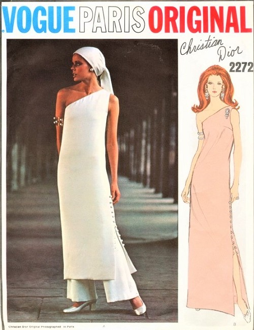 1970s DIOR Vogue Paris Original 2272 Dramatic One Shoulder Evening Gown or Tunic With Pants Side Button Slit Bust 31 Vintage Sewing Pattern