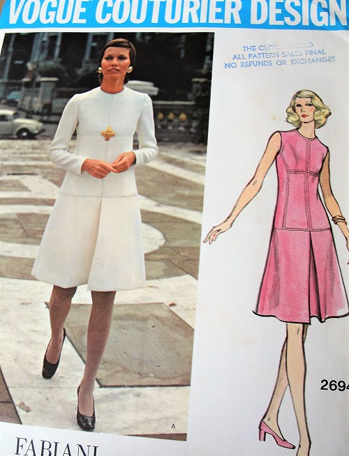 1970s FABIANI Dress Pattern VOGUE Couturier Design 2694  Lovely Seam Interest A Line Dress, Lovely Style Bust 32 Vintage Sewing Pattern FACTORY FOLDED