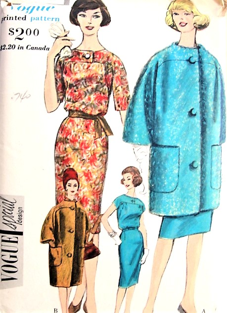 1960s COUTURE Style Coat and Slim Dress Pattern VOGUE Special Design 4194 Fab Coat and Scarf, Easy Elegance Dress Bust 36 Vintage Sewing Pattern FACTORY FOLDED